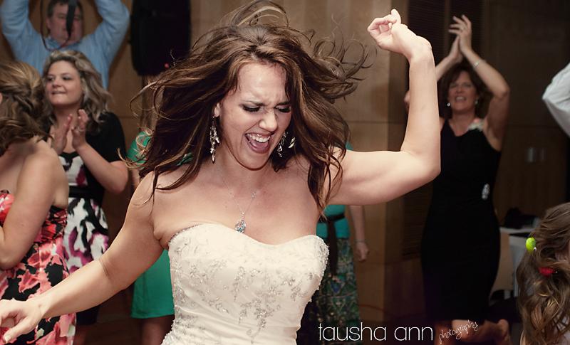 bride dancing the night away--- hair flying.