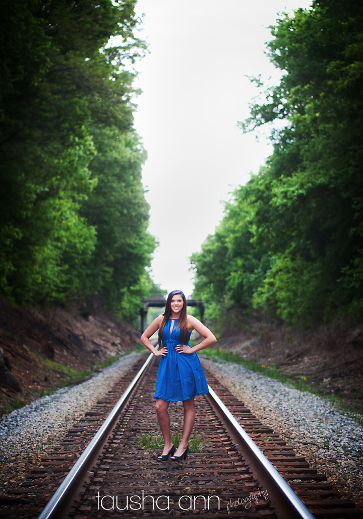 fashion model senior photography - blue dress railroad tracks - heels