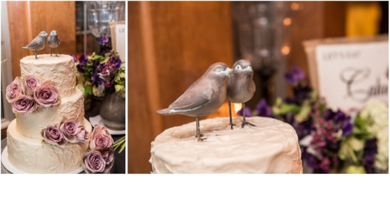 love bird cake topper and cake with flowers