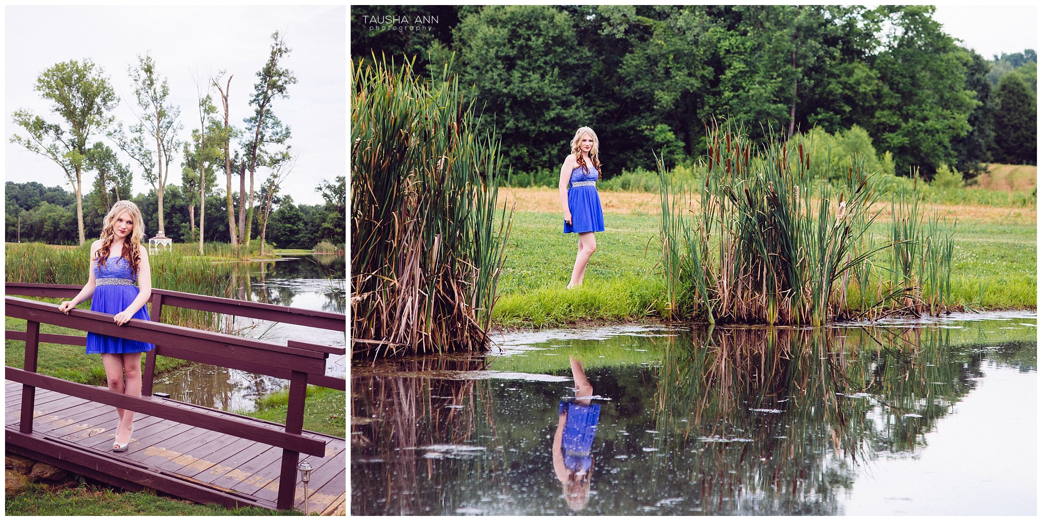 Sammie's_Sweet_16_Duck_Pond_Farm_Mt_Juliet_Tausha_Ann_Photography_Model_Nashville_Franklin_Spinning_Blue_Dress_Tiara_Reflection