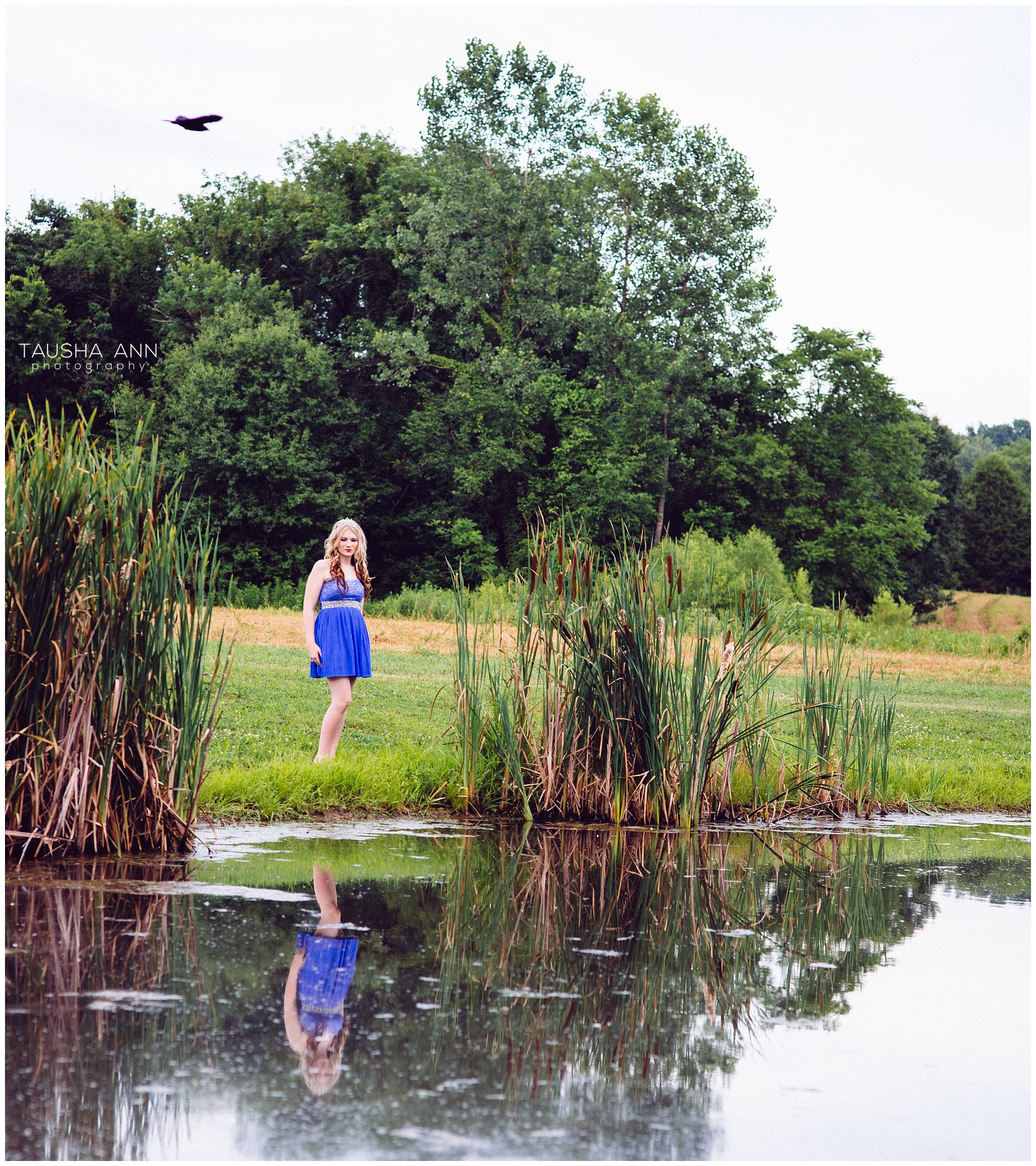 Sammie's_Sweet_16_Duck_Pond_Farm_Mt_Juliet_Tausha_Ann_Photography_Model_Nashville_Franklin_Spinning_Blue_Dress_Tiara_Reflection_Bird