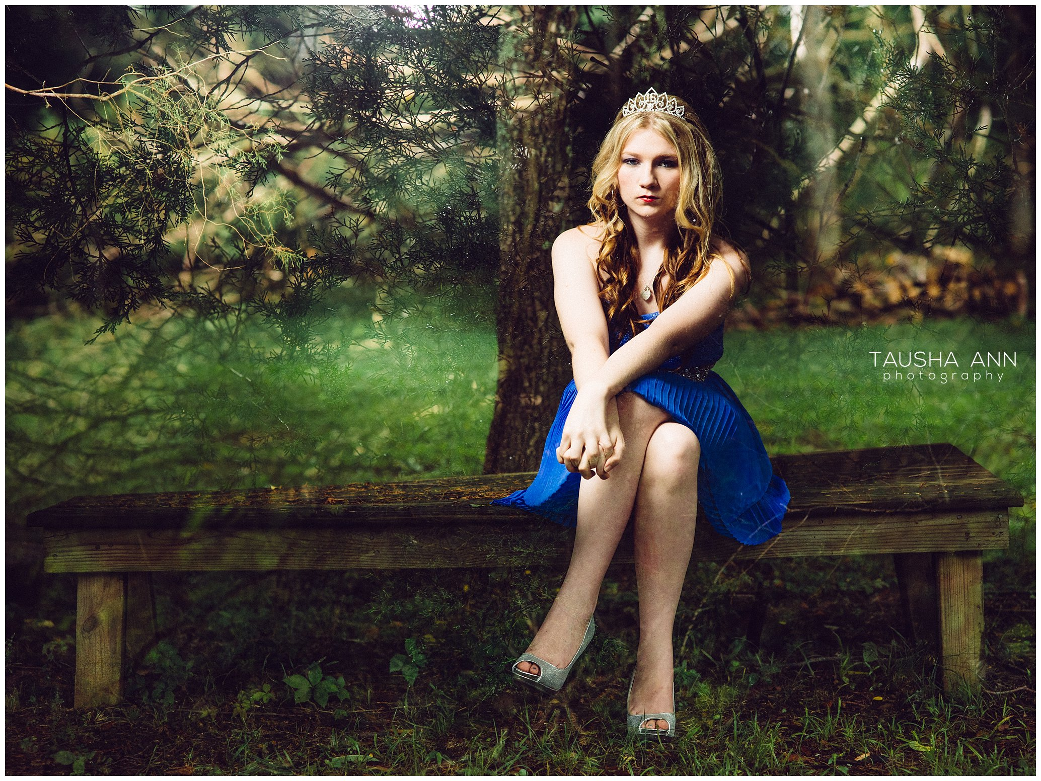 Sammie's_Sweet_16_Duck_Pond_Farm_Mt_Juliet_Tausha_Ann_Photography_Model_Nashville_Franklin_Spinning_Blue_Dress_Tiara_Sitting_On_Bench_Tree_Doube_Exposure