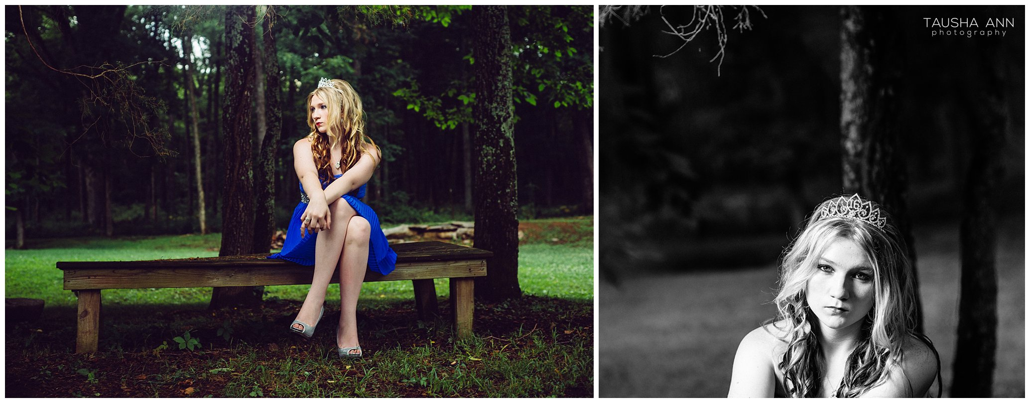 Sammie's_Sweet_16_Duck_Pond_Farm_Mt_Juliet_Tausha_Ann_Photography_Model_Nashville_Franklin_Spinning_Blue_Dress_Tiara_Sitting_On_Bench_Tree_Gorgeous